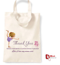 PERSONALISED Thank You Dance Teacher Gift Cotton Tote Bag- Ballerina design