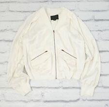 NEW Alexander Wang Cream Silk Split Shoulder Bomber Jacket Zippers Moto US 2 xs