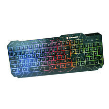 Color Crack Illuminated LED Backlight USB Wire Multimedia PC Gaming Keyboard