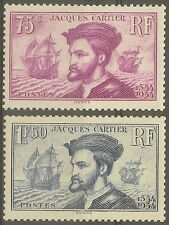 "FRANCE STAMP TIMBRE N°296/297 "" CARTIER, BATEAU, CANADA 1934 "" NEUF xx TB"