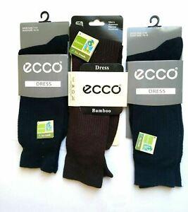 3 pair Ecco Mens  Bamboo Socks Casual Dress Cushioned Crew Sox Blue Brown