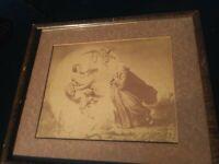 Antique Print of Devil w Fiddle Tempting Monk w/Food Temptation 13x11 Orig Frame
