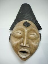 Africa  hand carving wood Mask Gabon  Punu  tribal  black & white painted art