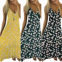 Plus Size Womens Summer V-Neck Maxi Dress Boho Beach Casual Loose Ladies Dress