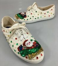 Glitzies Womens 7.5 Santa Claus Sequins Studs Ugly Christmas Gym Shoes Sneakers