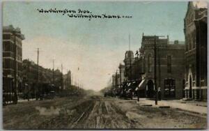 1910s Wellington, Kansas Postcard WASHINGTON AVENUE Downtown Scene C.U. Williams