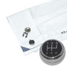 Black Gearstick Car Driver Cuff BUTTON COVERS Cufflinks Mens Present GIFT Box