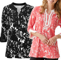 Ladies Black and White or Coral Stretchy 3/4 Sleeve Tops UK Sizes 8-18 eu 34-44