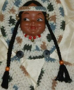 VTG Tanned Doll Face w/Pigtails Crochet Potholders Kitchen Wall Hanging Kitschy