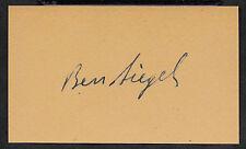 Benjamin Bugsy Siegel Autograph Reprint On Original Period 1940s 3X5 Card
