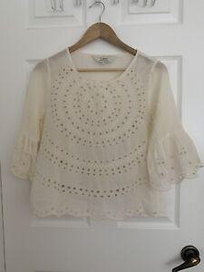 Ritu Kumar Label 100% Cotton Graceful Off White Scalloped Tunic Size L