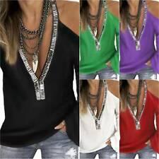 Women's Casual Baggy Cold Shoulder Long Sleeve V-Neck T-Shirt Blouse Tops Summer