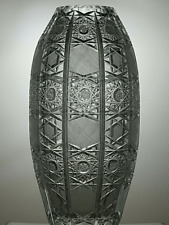 More details for large american brilliant period crystal heavy cut vase 12
