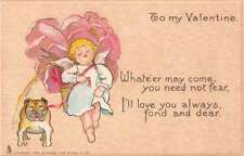 To My Valentine winged cherub with bull dog by Tuck Pub antique pc Z42665