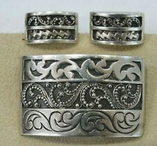 Lois Hill Handcrafted Sterling Silver  Rectangle Filigree Broach and Earrings