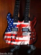 Mini Guitar UNITED STATES And CANADA FLAGS Unity Doubleneck Combo FREE STAND