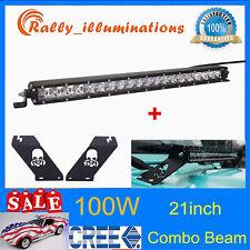 SLIM 21inch 100W LED Light Bar+Hood Mounting Bracket For Jeep 07-19 Wrangler JK