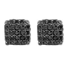 0.33 CT Sterling Silver Black Real Diamond Ice Cube Dice Shape Men Stud Earrings