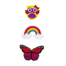 Butterfly Novelty Iron Patches Set (3Pcs) Lux Accessories Happy Owl, Rainbow and