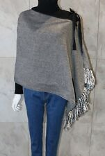 Asymmetric Wool Black & White Wrap Poncho Shawl Scarf Cardigan with Fringe & Bow