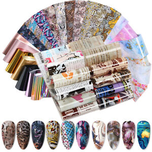 10 x Nail Foils Mixed Nail Art Transfer Stickers Starry Marble Print Wraps Decal
