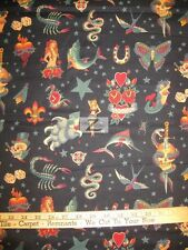 100% COTTON FABRIC BY ALEXANDER HENRY - Tattoo Black - BY THE YARD LICENSED