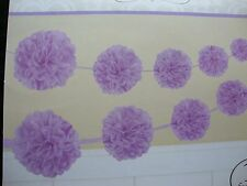 2 x Lilac Paper Party Garland Fluffy Pom Poms Banner lavender party decorations