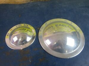 """POLISHED 5"""" FRONT & 7 5/8"""" REAR BELT DRIVE PULLEY COVERS  HARLEY B.T. & CHOPPERS"""