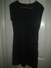 Sportsgirl 8 Black SIlk Look  Wide Waistband Pleat Crop Cuff Sleeve Dress