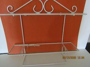 White Decorative Wrought Iron 2 Shelf Hanging Wall Unit w/ Glass Shelves - VG