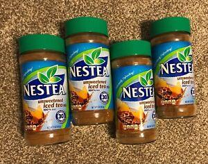 4 Jars Nestea Unsweetened 100% Instant Iced Tea Mix 3 Oz each - NEW LOT 4 JARS