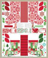 "MODA Fabric Quilt Panel ~  JINGLE ~ by Kate Spain (Full 1 yard x 45"")  Stockings"