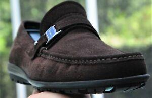 Salvatore Ferragamo  NORK Mans Brown  suede side buckle Dress Loafer Sz10 D