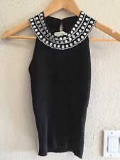 White House Black Market Silk Knit Tank Top with Beading Size M