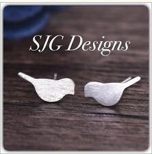 Jewellery -Tiny Cute Brushed Metal Love Bird SILVER  Earrings -new- Free Postage