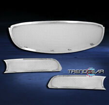 2006-2009 BUICK LUCERNE UPPER+BUMPER STAINLESS STEEL MESH GRILLE CHROME 3PCS SET