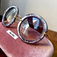 NWT MIU MIU SMU 13N Noir Lilac Purple Glitter Round Lens Gold Arms Sunglasses