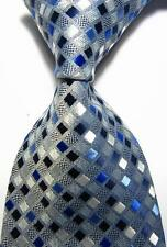 New Classic Checks Dark Blue White JACQUARD WOVEN 100% Silk Men's Tie Necktie