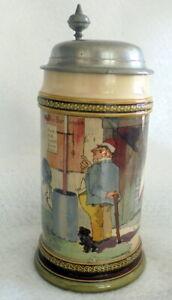 Humpen Bierkrug Villeroy & Boch Mettlach Wirtshaus Dec 941 von 1894 Sammelkrüge