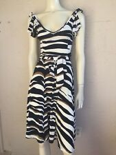 VALENTINO ROMA GORGEOUS ZEBRA PRINT NYLON ELASTHAN SKIRT & TOP SET SZ 42/44