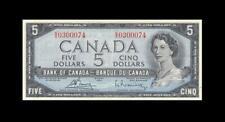 """1954 BANK OF CANADA QEII $5 **Bouey & Rasminsky** """"S/X"""" (( aUNC ))"""