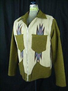 Vintage Chimayo Blanket Men Olive Green/Taupe Jacket-Bust 43/M