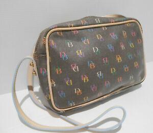 Dooney & Bourke monogram pattern print coated leather shoulder messenger bag VGC
