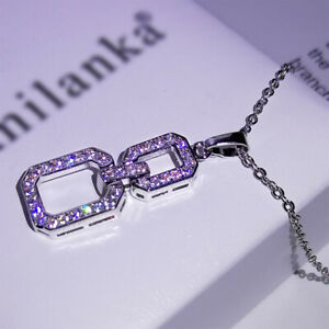Fashion Luxury Full Crystal Zircon Square Diamante Pendant Choker Necklace Charm
