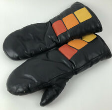 Vtg Ski-Doo Snowmobile Gloves Mittens Black Orange Yellow Mens Xl Leather Vinyl