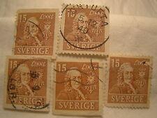 Sweden Stamp 1939 Scott 294 A59 Brown 15 Set of 5