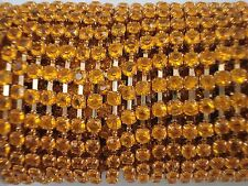 Acrylic 3mm Rhinestone Chain 1m Orange/Gold Costume Sew Dance FREE POSTAGE
