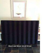 FUN BEDHEADS King Size Black and Black Velvet Stripe Upholstered Bedhead