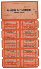 PARRY SOUND-GEORGIAN BAY CREAMERY- WWAR-2 -1940'S  VINTAGE-- MILK TICKETS/TOKENS
