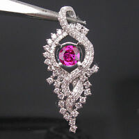 14KT White Gold Natural Pink Tourmaline 1.95CT EGL Certified Diamond Pendant